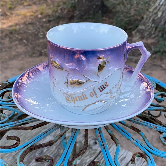 """💜Vintage """"Think of Me"""" Cup & Saucer💜"""